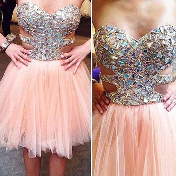 Compre Encantadores Vestidos De Fiesta Cortos De Color Rosa Con ...