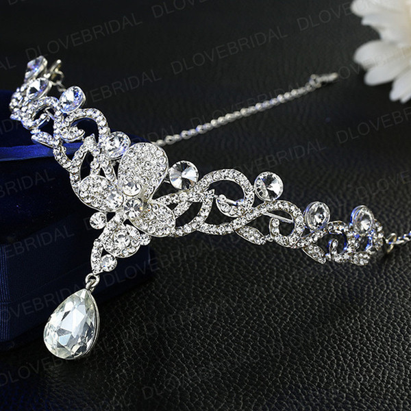 Free Shipping Romantic Crystal Butterfly Headband Shinny Fairy Rhinestone Floral Wedding Prom Evening Party Headpieces Jewelry Accessories
