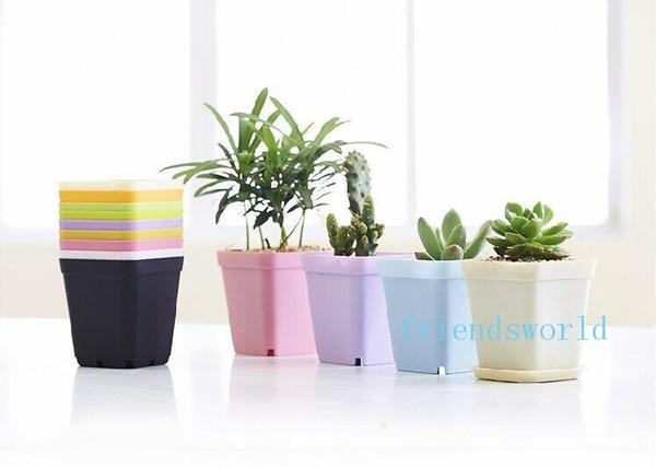 Bonsai Planters Plastic Table Mini Succulents Plant Pots and Plate Gardening Vase Square Flower Pot Colorful Mini Pots Free Shipping