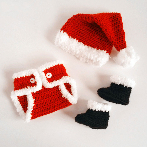 Knit Baby Red Santa Claus Costume,Pure Handmade Crochet Baby Boy Girl Christmas Outfit,Santa Hat Diaper Cover Booties Set,Newborn Photo Prop