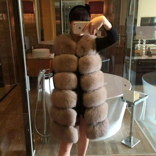 Long Winter Fox Fur Round Collar Faux Fox Fur Cloak Coat Fashion Women Luxurious Fox Fur Vest Coat Plus Size
