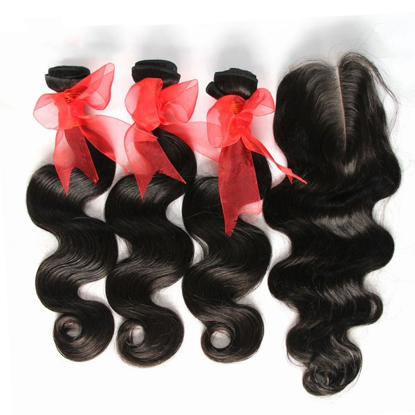 Cambodian Virgin Hair Body Wave With Closure 7A Unprocessed Human Hair Weaves 3 Bundles And 1 Pcs Top Lace Closures Natural Black Extensions