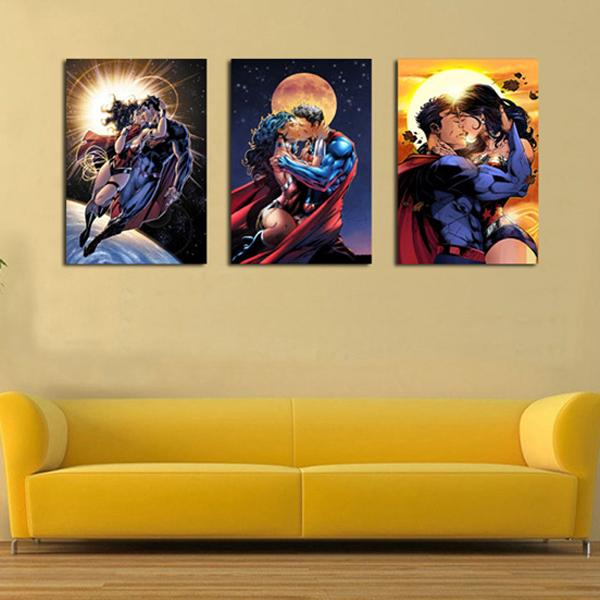 3 Pieces modern fashion HD print figures painting abstract superman wonder woman oil painting wall art pictures home decoration