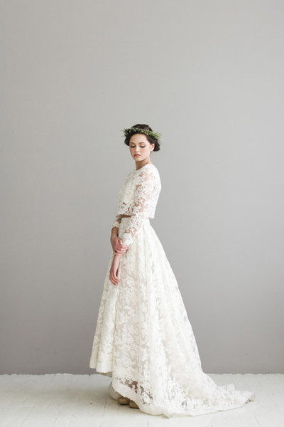 Simple Designer Two Pieces Lace Wedding Dresses Beach Garden Bridal Dress Long Sleeves robe de mariage vestidos de novia Wedding Gowns