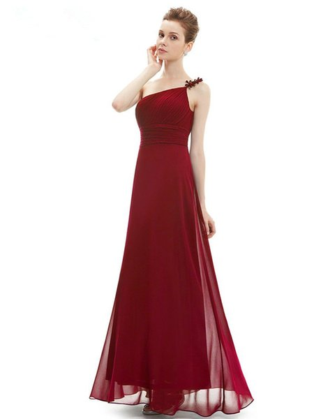 2016 New Stock Chiffon Formal Evening Dresses A-Line One Shoulder Long Flower Floor-Length Prom Party Gowns