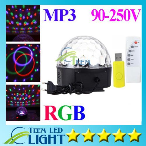 RGB MP3 Magic Crystal Ball LED Music stage light 18W Home Party disco DJ party Stage Lights lighting + U Disk Remote Control lamp