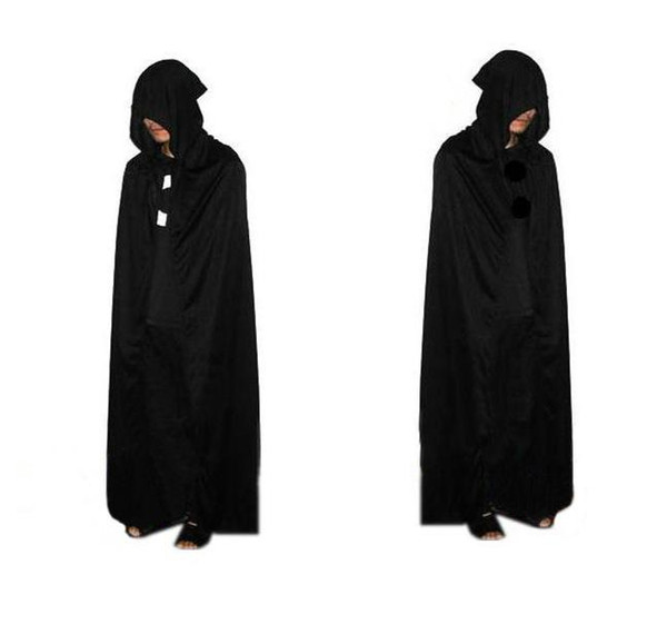 2016 HOT Halloween Costume knitted fabric Theater Prop Death Hoody Cloak Devil Long Tippet Cape Black Free FedEx DHL
