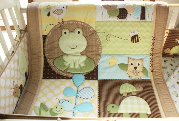 9Pcs Baby bedding set Embroidered tortoise frog owl Cot bedding set Crib bedding set Quilt Bumper Bed Skirt Blankets Diaper Bag