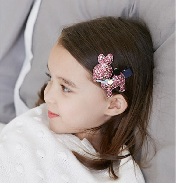 Wholesale Boutique 30pcs/6C Cute Deer Baby Girls Barrettes Glitter Solidl Girls Hairpin Kids Hair Accessories