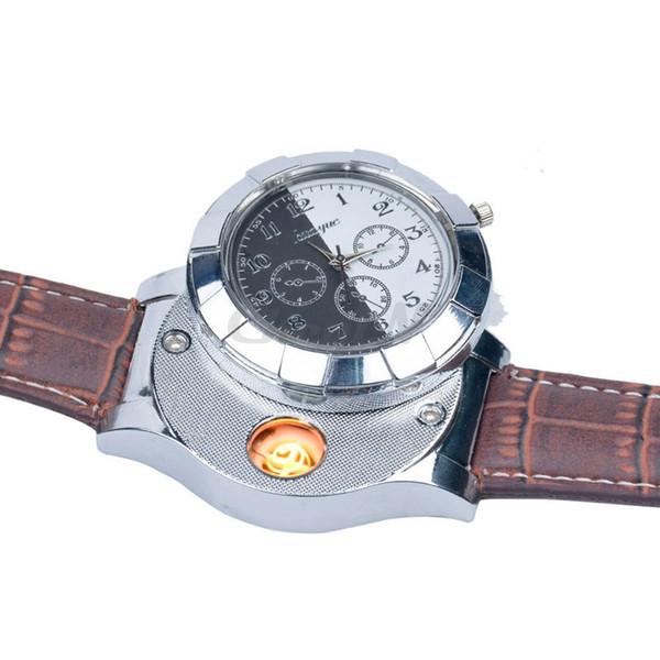 DHL Men watches quartz Lighter Watches F667 Fashion Rechargeable USB Electronic Men's Wristwatches Flameless Cigarette Lighter clock man