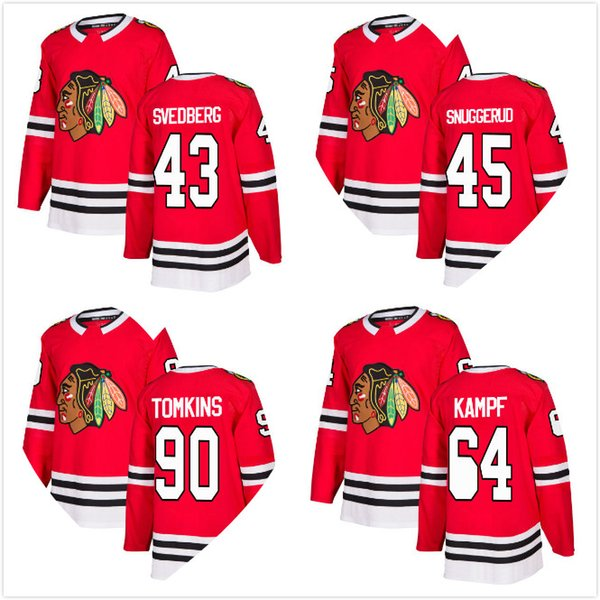30-Teams 2018 Chicago Blackhawks Eishockey-Trikots 64 David Kampf 90 Matt Tomkins 43 Viktor Svedberg 45 Luc Snuggerud RED Eishockey-Trikots