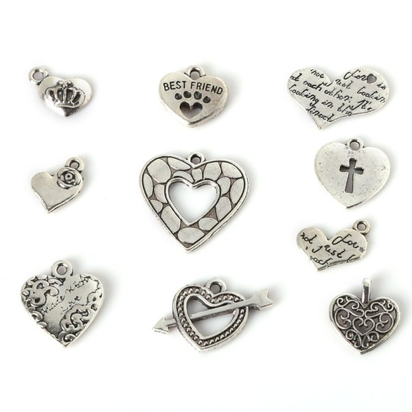 Free shipping Free Shipping Mix 91pcs Silver LOVE Heart Charms Pendants Necklace Beads DIY jewelry making DIY