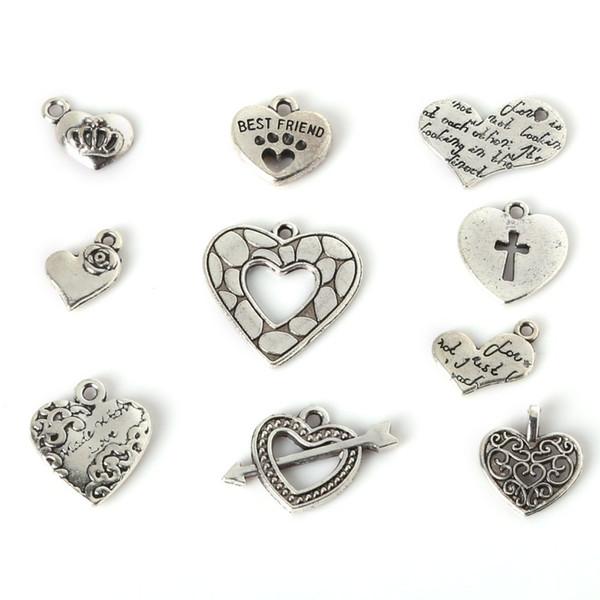 Freies Verschiffen Freies Verschiffen-Mischungs-91pcs silberne LIEBE Herz-Charme-Anhänger-Halsketten-Perlen DIY Schmucksachen, die DIY bilden