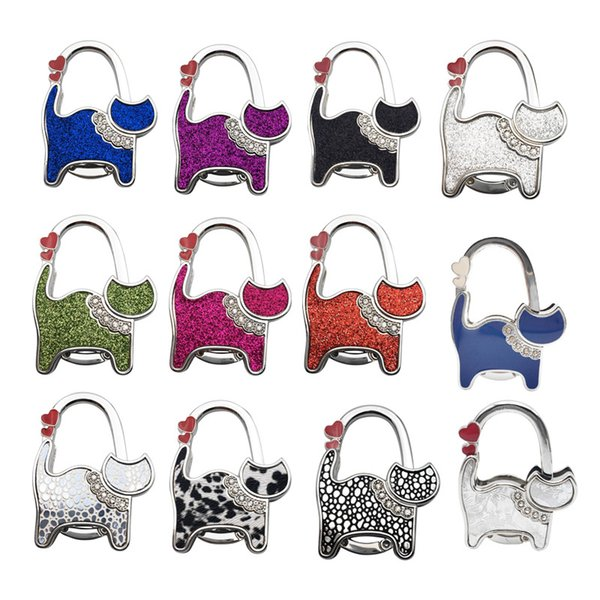Table Cat Foldable Purse Bag Rhinestone Hanger Handbag Hook Holder Multicolor Birthday Christmas Gift Party Favor ZA5219