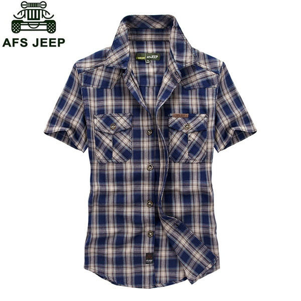 Venta al por mayor-2016 estilo europeo gran tamaño M-5XL hombres obesidad verano de alta calidad 100% algodón a cuadros sueltos camisas de manga corta hombre tops de color caqui