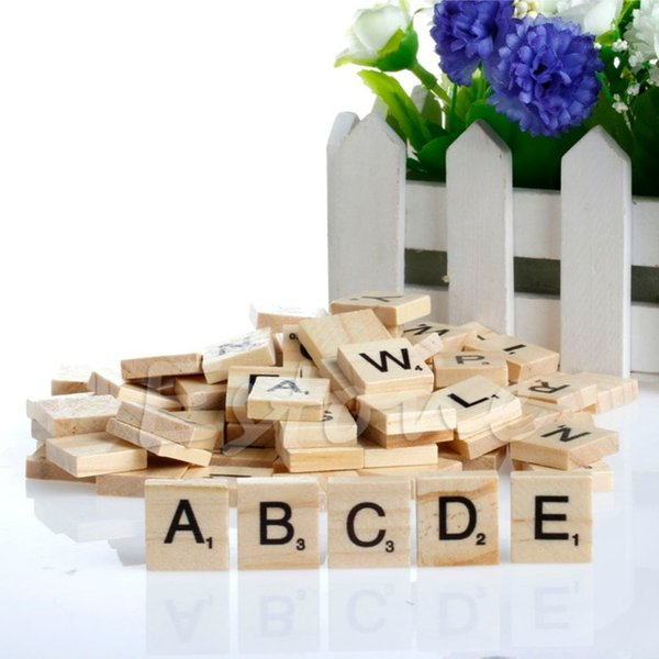best selling Wholesale-Hot 100 Wooden Alphabet Scrabble Tiles Black Letters & Numbers For Crafts Wood