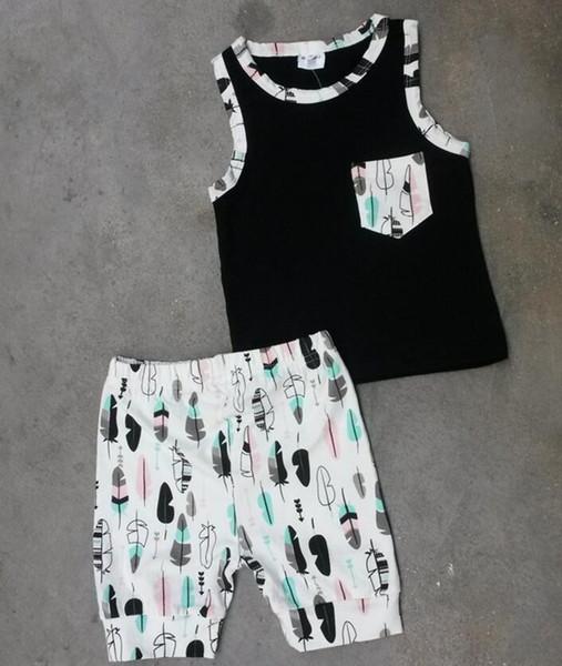 Baby Outfits 2016 Sommer Zweiteiler Ins Kleidung Baumwolle Kreuz Feder Weste Tops Shorts Sets Baby Jungen Mädchen Kleidung Boutique Kleidung 370