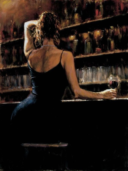 Gerahmte sexy Frau in Weinbar Fabian Perez, echte hochwertige reine handgemalte Wanddekorkunst Ölgemälde auf Leinwand Mulit Größen