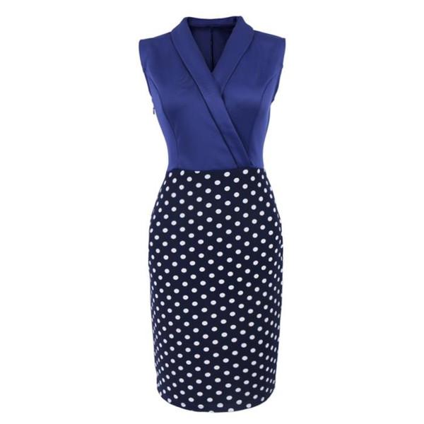 429959d9c6 woman Bodycon Sleeveless dress work black Pencil skirt Wave point Y collar  Sexy Comfortable slim Knee