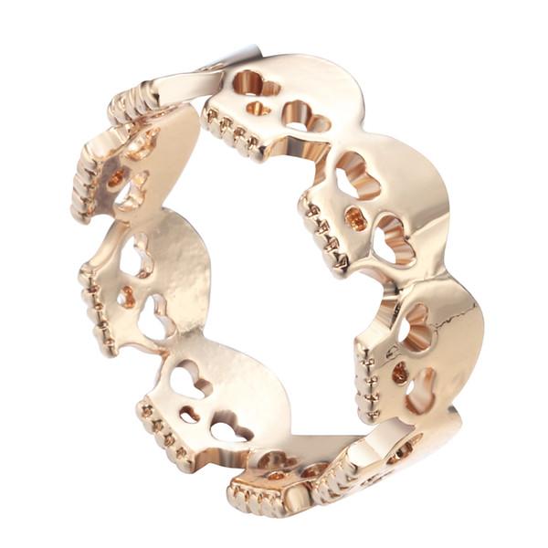 10pcs/lot Gold Plated Heart Skulls Rings Rock N Roll Skull Skeleton Rings for Women 2016 Bague Homme Free Shipping