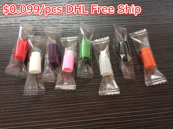 top popular $0.099 Disposable drip tips Individually Wrapped Silicone Rubber Test Tester Drip Tips Colors DHL Free Ship 2021