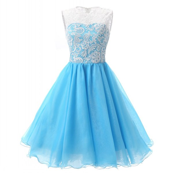 top popular In Stock Jewel Neck Party Dresses Sheer Mini Short Lace Tulle Homecoming Cocktail Evening Prom Dresses 2019