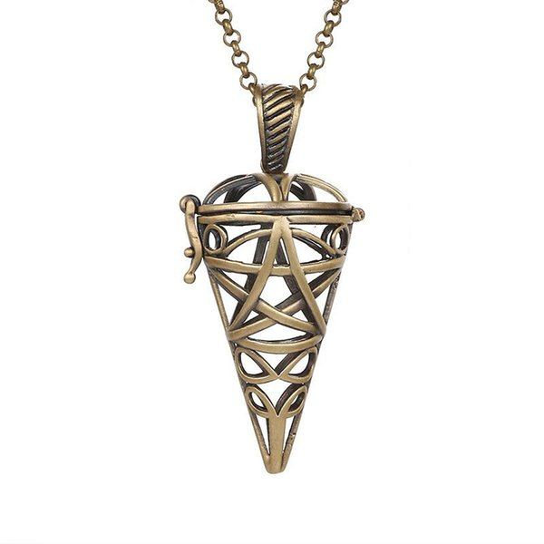 Aromatherapy Essential Oil Diffuser Pregnant Women Necklace Accessories Geometric Hollow Metal Triangular Cone Necklace Pendant 2018 Fashion