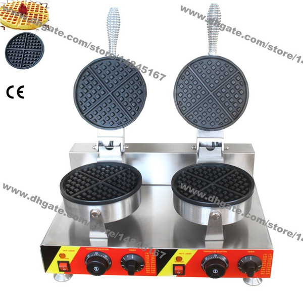 Free Shipping Commercial Use Nonstick 110v 220v Electric Dual Round Standard Belgian Waffle Maker Iron Baker Machine