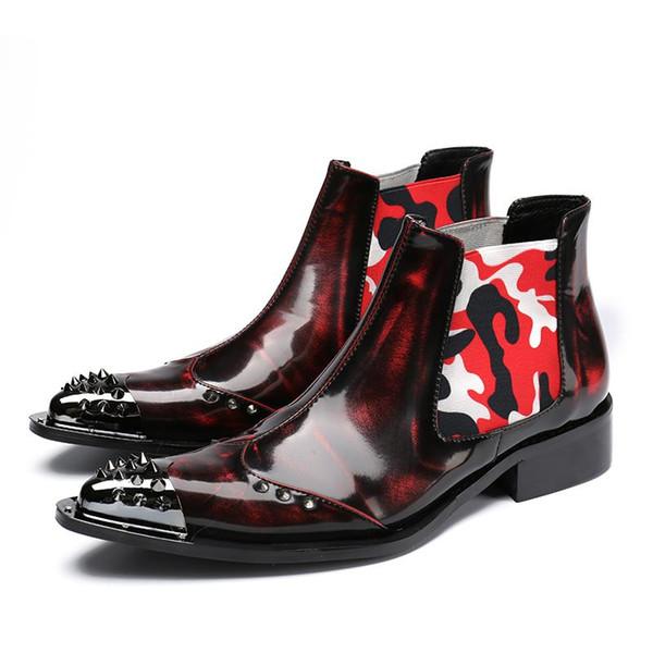 Hombres de estilo italiano de lujo Botas Tobillo Corto Super Cool Rock Vino Rojo Metal Hierro puntiagudo Botas de moda para hombre, Boda / Exterior / Desfile de moda
