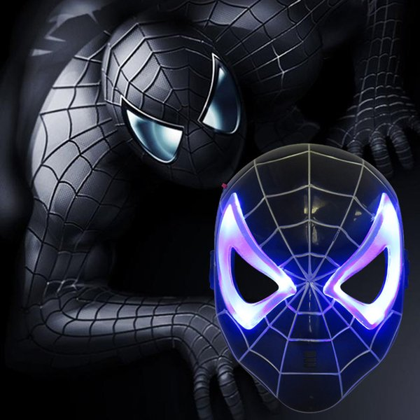 NEW Plastic Black Spider-Man Mask Children's Cartoon Ultraman Mask with Light Emitting Party Supply