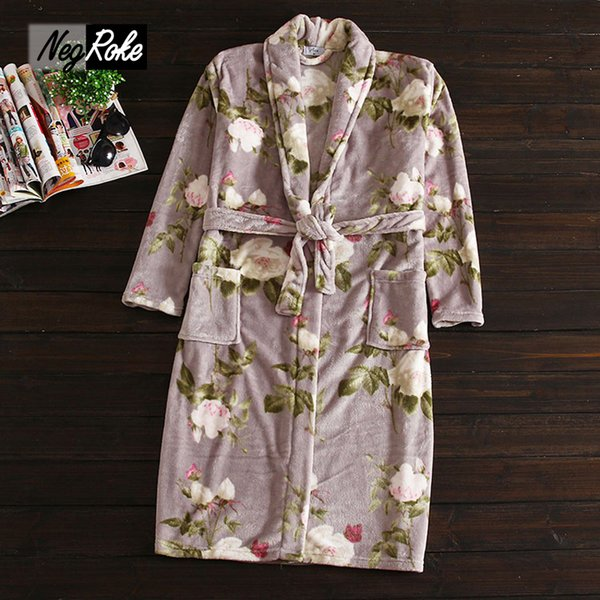 Wholesale- Hot sale Winter Fashion women robes coral fleece polyester lovers couples flowers printing Bathrobes for women home robes