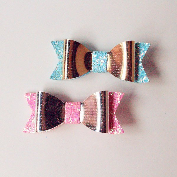 2016NEW STYLE Bow Hair Aritificial Leather Glitter Felt Shinning Baby Cute Bows Hairpins 20pcs/lot Wholesale Hair Clips Felt KidsTop Quality