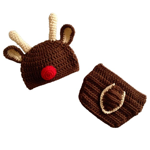 Crochet Baby Reindeer Outfit,Handmade Knit Baby Boy Girl Rudolph Red Nose Moose Hat Diaper Cover Set,Christmas Costume,Infant Photo Prop