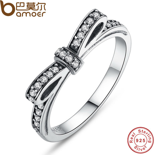 top popular Pandora Style 925 Sterling Silver Wedding Ring Sparkling Bow Knot Stackable Engagement Ring Micro Pave CZ Promise Ring 2019