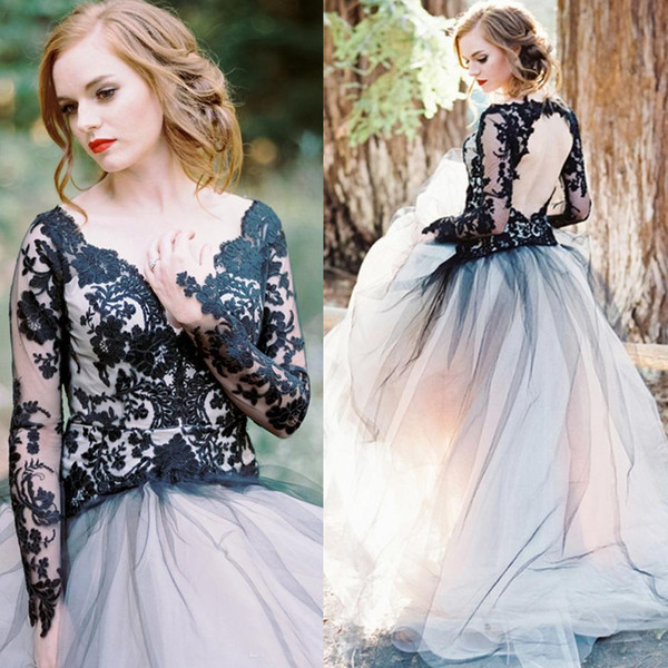 top popular Black and White A-line Illusion Long Sleeves Lace Bodice Tulle Skirt Keyhole Open Back Prom Gowns Victorian Gothic Evening Gowns 2020