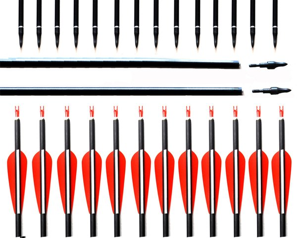 New Spine 500 Carbon Arrow With Replaceable Arrowhead 28/30/31 Inches Length Archery Arrows for Compound/Recurve Bow Hunting