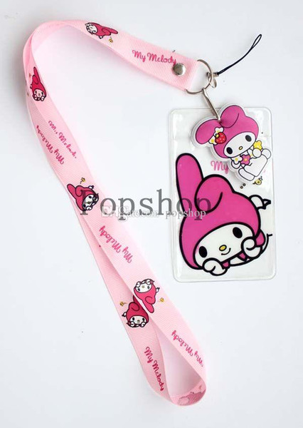 Free Shipping NEW 50pcs Cartoon Pink My Melody Neck Lanyard strap Charms Cell Phone ID Badge Holder
