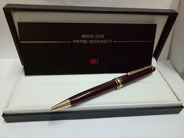 Venta caliente Material de resina-metal 163 Cuerpo rojo Bolígrafo clásico de lujo MB 0.7 mm Punto de escritura con clip dorado