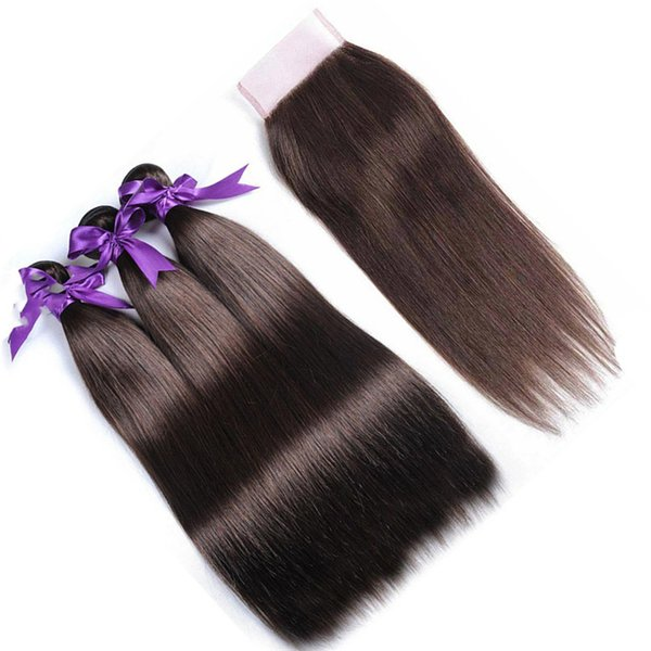 Chestnut Brown Lace Closure with Hair Bundles Color 4 Medium Brown Peruvian Straight Virgin Hair Weaves with Top Closure 4Pcs Lot