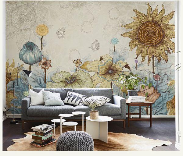 Comics Sonnenblume Tapete warm Vintage Tapete große Wandbild Wandverkleidung drei 3D Wallpaper Hintergrund Kleidung Mode Persönlichkeit livin