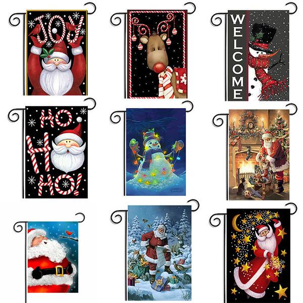 2017 New Christmas Decoration Xmas Flag for Decor 30*45cm Snowman Santa Claus Banner Waterproof Christmas Flags
