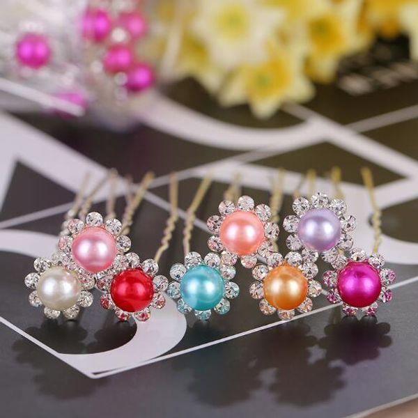 2017 new pearl flower inlaid rhinestone hairpin bride hair pin U-shape hairpin women wedding headdress hair jewelry