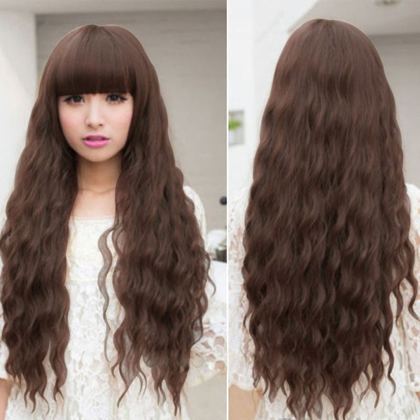 free shipping charming beautiful new Best Hot Sell!Womens Lolita Curly Wavy Long Wigs Cosplay Party Full Hair Wigs New Fashion