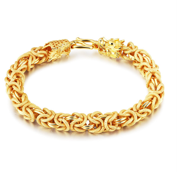 Thick Heavy Wrist Bracelet Chain 18kk Yellow Gold Filled Mens Solid Bracelet Mens Jewelry Classic Gift 7.87 inches