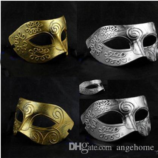 2015 Men's retro Greco-Roman Gladiator masquerade masks Vintage Golden Silver Mask Carnival Mask Halloween Costume Party Mask
