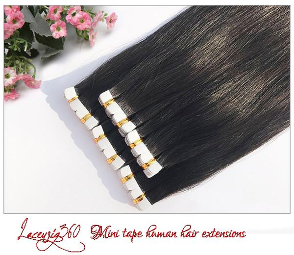 Lacewig360 Yeni Varış 20 '' 20 Adet Mini Bant İnsan Saç Uzantıları brezilyalı Düz Remy Cilt Atkı Uzantıları 1B # Doğal Siyah