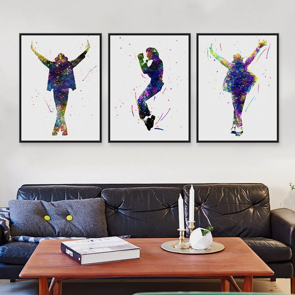 Triptych Original Watercolor This Is It Music Celebrity Michael Jackson Pop Movie A4 Art Prints Poster Picture Canvas Painting Wall