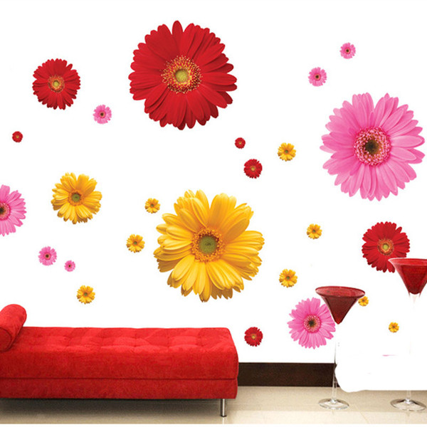Daisy Flower Living Room Vinyl 3D Wall Stickers Window Decor Bedroom Kitchen Wall Decals Home Sticker free shipping