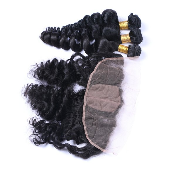 8A Brazilian Loose Wave Virgin Hair With Silk Base Frontal 4Pcs Human Hair Weaves Loose Wave With Silk Base Frontal Closure