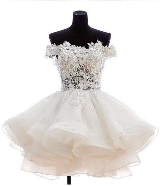 2016 в наличии с плеча органза короткие выпускного вечера Homecoming платье цвета слоновой кости кружева аппликации выпускное платье коктейльное платье